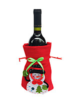 Clearance Merry Xmas Santa Claus Wine Bottle Cover bags Christmas Dinner Party Table Decor bags Red