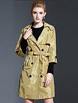 Feminino Casaco Casual estilo antigo / Simples Outono / Inverno,Sólido Amarelo Fibra Sintética Lapela Pontuda-Manga Longa Média