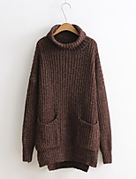 Women's Casual Cute Long Pullover,Solid Green / Purple / Brown High Neck Long Sleeve Cotton Autumn Medium Micro-elastic