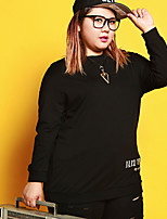 JAZZ Women's Plus Size / Casual/Daily Simple Regular HoodiesLetter Black Round Neck Long Sleeve Cotton / Polyester / Spandex Fall / Winter