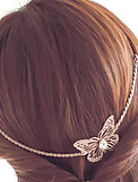 Women Simple Hollow Alloy Butterfly Hair Band Crystal Tassel Chain Hairpin Hair Accessories 1pc