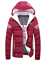 New Arrival Men's Regular Padded CoatSimple Plus Size Solid-Polyester Polyester Long Sleeve Hooded Red / Black