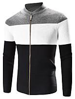 Herren Standard Strickjacke-Lässig/Alltäglich Einfach Einfarbig Schwarz Ständer Langarm Polyester Winter Dick Mikro-elastisch