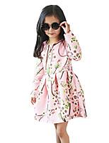 Vestido Chica de Casual/Diario Un Color Mezcla de Algodón Manga Larga Otoño / Primavera