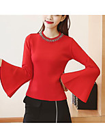 Women's Casual/Daily Simple Long Pullover,Solid Red / White / Black Round Neck Long Sleeve Cotton Fall Medium Micro-elastic