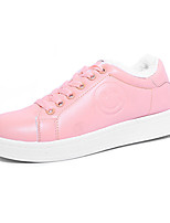 Damen-Sneaker-Lässig-PU-Flacher Absatz-Komfort-Schwarz Rosa