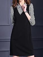 Damen Hülle Kleid-Formal / Arbeit / Übergröße Einfach / Niedlich / Street Schick Solide / Gestreift / Einfarbig Hemdkragen Übers Knie