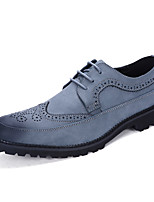 Men's Oxfords Spring Summer Fall Winter Comfort Leather Wedding Office & Career Party & Evening Black Blue Gray