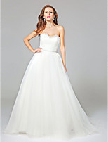Lanting Bride® Ball Gown Wedding Dress - Elegant & Luxurious Open Back Court Train Sweetheart Tulle with Ruche / Sash / Ribbon