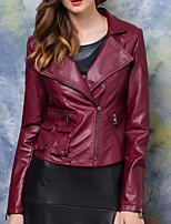 Damen Solide Einfach Lässig/Alltäglich Lederjacken Langarm Rot PU