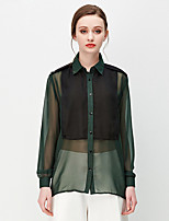 NAKED ZEBRA Women's Casual Street chic Autumn BlouseSolid Shirt Collar Long Sleeve Green Polyester