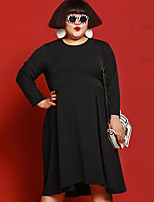 JAZZ Women's Plus Size / Casual/Daily Simple Loose DressSolid Round Neck Midi Long Sleeve Black Rayon / Spandex / Others Fall Mid Rise