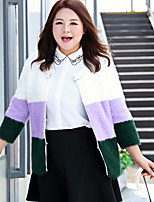 MsShe  Women's Casual / Plus Size / Going out Cute CoatColor Block Round Neck Long Sleeve Winter / Autumn Purple Cotton / Nylon Thick