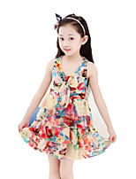 Girl's Casual/Daily Print Dress,Cotton Blend Summer Sleeveless