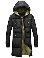 New Arrival Men's Long Padded CoatSimple Plus Size Solid-Polyester Polyester Long Sleeve Hooded Black