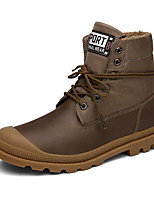 Men's Boots Spring Fall Winter Comfort Leatherette Outdoor Casual Flat Heel Black Brown