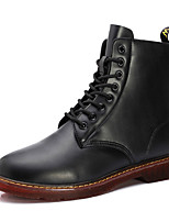 Men's Boots Winter Comfort PU Casual Flat Heel Lace-up Black Brown