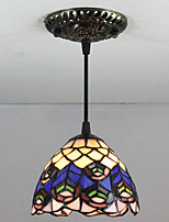 25W Pendant Light ,  Tiffany / Retro Painting Feature for Mini Style Metal Living Room / Entry