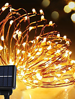 chaîne de l'énergie solaire lampe de fil de cuivre 100LED bande conduit 10m étanche lumière blanche chaude pour l'extérieur noël lumières