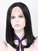 Middle Length Natural Black Color Synthetic Wig Straight Hair With Adjustable Strap Lace Front Bob Wig