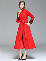 Women's Going out / Casual/Daily Street chic Coat,Solid Stand Long Sleeve Fall / Winter Red / Green Wool / Polyester Thick