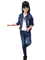 Girl Casual/Daily Solid Sets,Denim Spring / Fall Long Sleeve Clothing Set