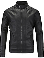 Men's Plus Size / Casual/Daily Simple Jackets,Solid Long Sleeve Black / Brown PU