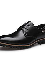 Черный / Коричневый-Мужской-Свадьба / Для офиса / Для вечеринки / ужина-Кожа-На низком каблуке-Удобная обувь-Туфли на шнуровке