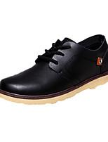 Черный / Желтый / Бордовый-Мужской-На каждый день-Кожа-На плоской подошве-Удобная обувь-Туфли на шнуровке