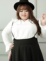 Damen Solide Einfach Lässig/Alltäglich / Übergröße T-shirt,Sweetheart Herbst Langarm Weiß Polyester
