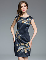 MARCOBOR Women's Plus Size / Casual/Daily Chinoiserie Sheath DressEmbroidered Round Neck Above Knee Sleeveless Black Polyester Summer Mid Rise