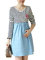 Maternity Print Denim Patchwork Stripe Casual/Daily Loose Dress
