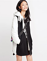 Metersbonwe Women's Casual/Daily Street chic CoatColor Block Hooded Long Sleeve Winter Black Polyester Medium