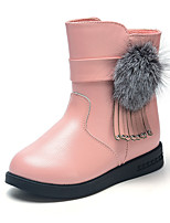 Girl's Boots Spring Fall Winter Other Leather Dress Casual Pom-pom Black Pink Red Other