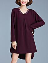 Ample Robe Femme Décontracté / Quotidien / Grandes Tailles simple,Couleur Pleine Col Arrondi Asymétrique Manches Longues Rouge / Noir