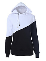 Women's Casual/Daily Simple Regular Hoodies,Color Block Black Hooded Long Sleeve Polyester Fall / Winter Medium Micro-elastic