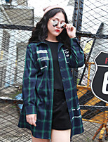 Nininiu  Women's Casual/Daily Simple ShirtCheck Shirt Collar Long Sleeve Green Polyester