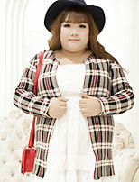 Women's Casual/Daily Plus Size Simple Regular Cardigan,Plaid Gray V Neck Long Sleeve Cotton Polyester Fall Winter Medium Inelastic
