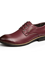 Men's Oxfords Fashion Leather Shoes Comfort Wedding Shoes Party & Evening Low Heel Lace-up Black / Brown / Burgundy