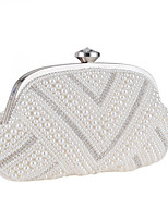 Women Evening Bag Polyester All Seasons Wedding Event/Party Formal Party & Evening Club Shell Pearl Detailing Clasp Lock White