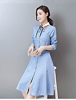 Women's Going out Simple A Line DressSolid Peter Pan Collar Midi Long Sleeve Blue Cotton