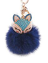 diamante cabeça de pele de raposa coelho liga bola anel chave de moda sacos ornamentos