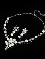 Jewelry 1 Necklace 1 Pair of Earrings Halloween Wedding Party Pearl Crystal 1set Women Silver Wedding Gifts