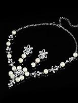 Set de Bijoux Basique Perle Cristal Chaîne unique 1 Collier 1 Paire de Boucles d'Oreille Pour Mariage Soirée Halloween 1setCadeaux de