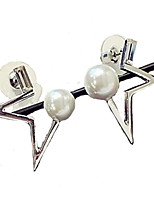 Stud Earrings Crystal Pearl Alloy Fashion Star Gold Silver Jewelry Daily Casual 1pc