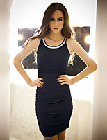 JoanneKitten Women's Sexy Tow Ways Strap Sleeveless Beads Bodycon Mini Dress
