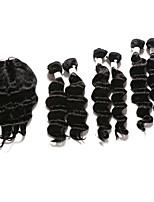 Trame cheveux avec fermeture Cheveux Indiens Ondulation profonde 12 mois 7 Pieces tissages de cheveux