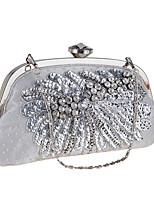 Women Evening Bag Polyester All Seasons Wedding Event/Party Formal Party & Evening Club Minaudiere Rhinestone Pearl Detailing Clasp Lock