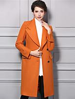 Женский На каждый день Однотонный Тренч V-образный вырез,Уличный стиль Зима Оранжевый Длинный рукав,Нейлон,Толстая
