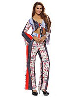 Women's Holiday Sexy / Boho Fall Tank Top Pant Suits,Print V Neck Long Sleeve Multi-color Polyester / Spandex Thin